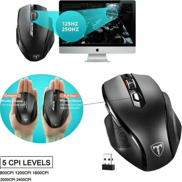 2.4G Wireless Large Mouse 5 CPI Level 6 Buttons for Office Notebook PC Black US $16.62