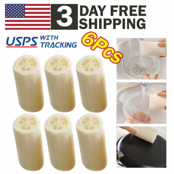6x Natural Loofah Luffa Loofa Exfoliating Bath Shower Sponge Body Scrubber