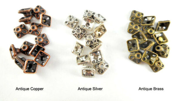 Antique Brass Silver Plated Lead Free 4x7mm Small Fluted Square Bead Caps Q50