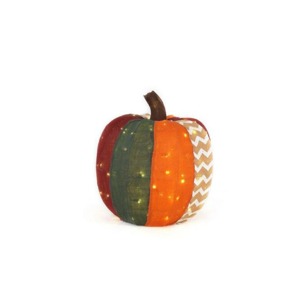 18 in. Warm White LED Colored Burlap Pumpkin Halloween Harvest Decor