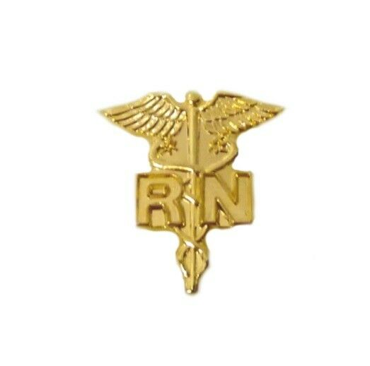 Gold RN Emblem Pin Registered Nurse Plated Medical Collar Caduceus New 801NC