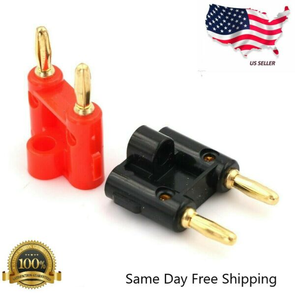 2 Pcs Dual Banana Plug Gold Plated Screw Type Audio Speak Wire Cable Connector