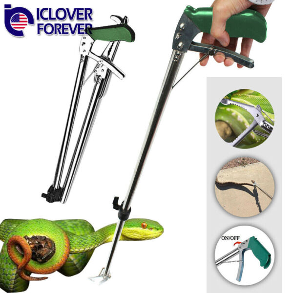 47'' Self-lock Foldable Snake Clamp Handle Tongs Stick Reptile Grabber Catcher