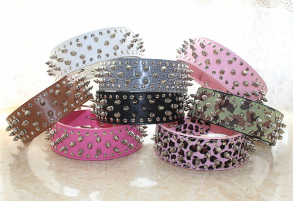 Colourful Leather Dog Collar Spikes amp; Studs Collars Pit bull Dog Terrier Collars $10.44