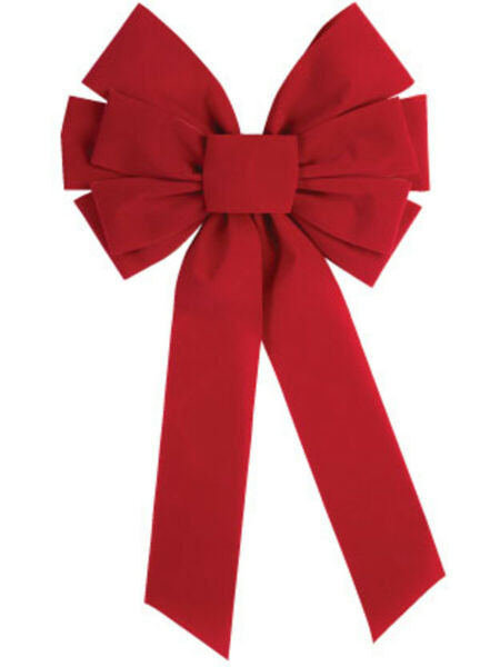 Large Red Velvet 10 Loop Christmas Bow Door Wall Fireplace Decoration