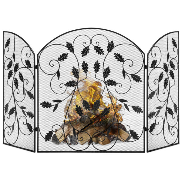 BCP 3-Panel Steel Fireplace Screen w Rustic Finish Leaf Decals - Black