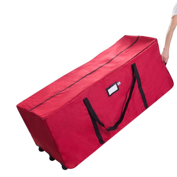 Elf Stor Premium Red Rolling Christmas Tree Storage Duffel Bag for 9 Ft Tree