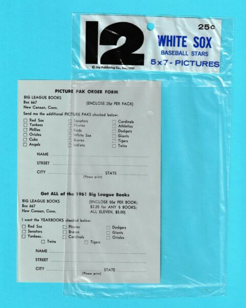 1961 Jay Publishing Chicago White Sox 5x7 empty plastic envelope amp; order form