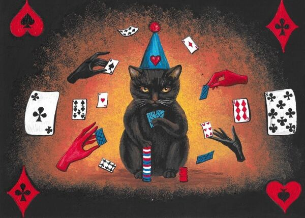 ACEO PRINT OF PAINTING BLACK CAT POKER CARDS FOLK ART WITCHCRAFT RYTA HALLOWEEN