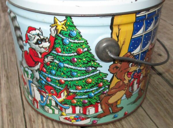 HTF Vtg Christmas Candy Container Tin Lunch Pail Lid Bear Fox Bird Cartoon Metal
