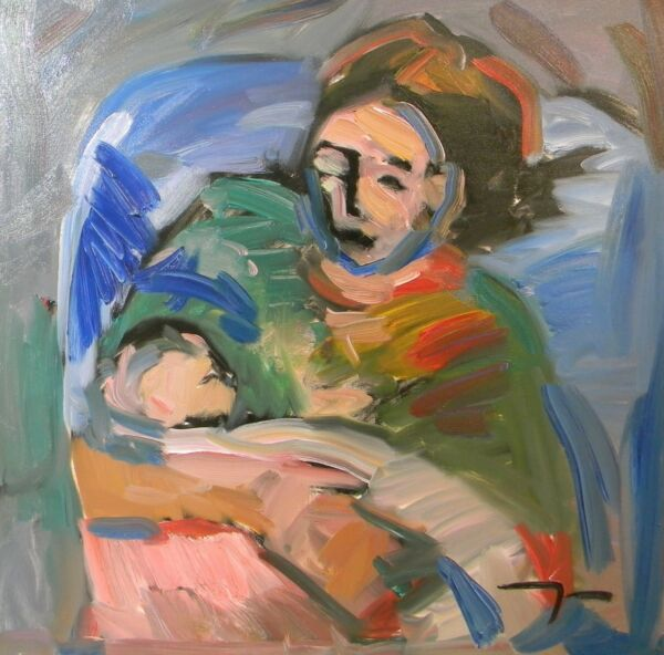JOSE TRUJILLO OIL PAINTING MOTHER CHILD 24X24 CANVAS MODERNISM EXPRESSIONISM ART