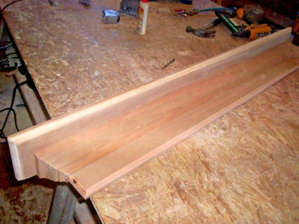 SOLID CHERRY 48 INCH HAND BUILT WALL SHELF MANTEL STAIN GRADE WOOD
