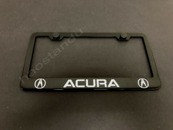 1xACURA BLACK STAINLESS LICENSE PLATE FRAME Screw Caps Style LL