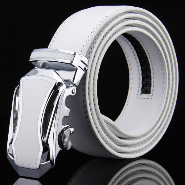 Men#x27;s White Belts Genuine Leather Belts Automatic Belt Buckles Fashion Strap New
