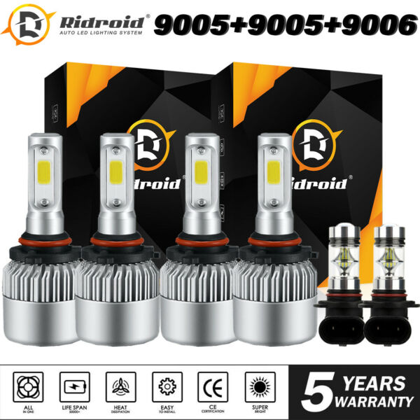 6x LED Headlight Bulb High Low Fog Combo For Dodge RAM 1500 2500 3500 2016-2019