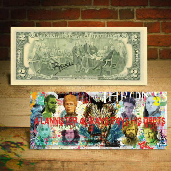 GAME OF THRONES TV Series Jon Snow Genuine $2 US Bill Art - HAND-SIGNED by Rency