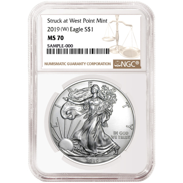 2019 (W) $1 American Silver Eagle NGC MS70 Brown Label