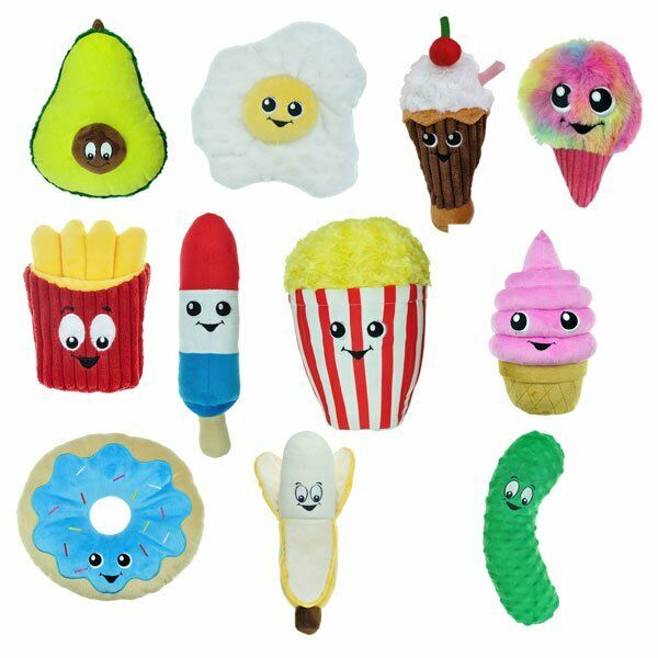 Food Junkeez Plush Dog Toys Soft Squeakers Snack Avocado Egg Fry Toy 11 Styles