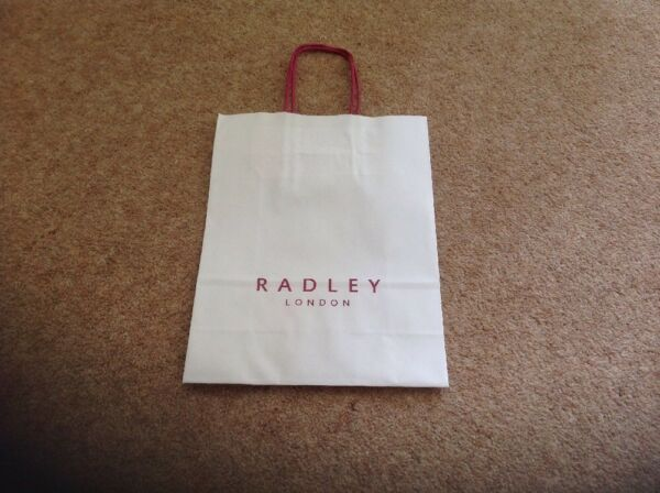 RADLEY LONDON WHITE SMALL CARRIER BAG 7IN X 9IN NEW PINK HANDLES GBP 1.20