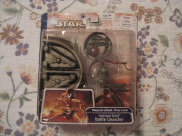 NEW SEALED STAR WARS CLONE WARS DESTROYER DROID BATTLE LAUNCHER CARDED FIGURE