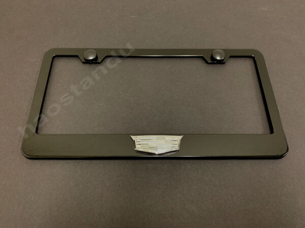 1xCadillacLOGO 3D Emblem BLACK Stainless License Plate Frame RUST FREE S.Caps