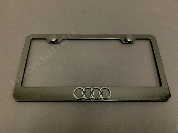 1x 4 RING LOGO 3D Emblem BLACK Stainless License Plate Frame RUST FREE S.Caps