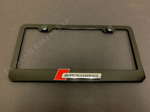 1x quot;SUPERCHARGEDquot;3D Emblem BLACK Stainless License Plate Frame RUST FREE S.Caps