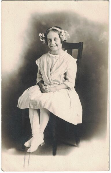 1912 RPPC Cute Girl with Ribbons in Her Hair - St. Paul Minn. - Named