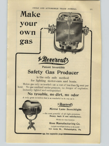 1906 PAPER AD Neverout Safety Gas Producer Car Auto Automobile Lamp Head Light