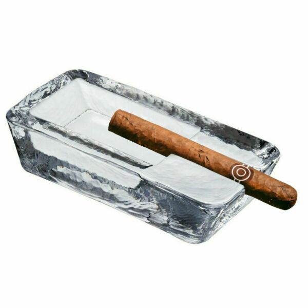 Handmade Heavy Large Cigar Ashtray Crystal Glass Clear for Outdoor Patio Pool $39.49