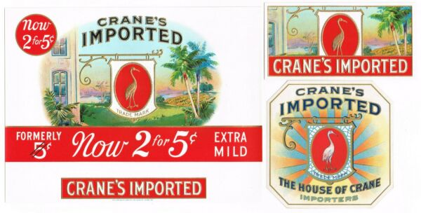 CIGAR BOX LABEL VINTAGE C1930S EMBOSSED PAIR SET CRANES IMPORTED IN OUT TAG