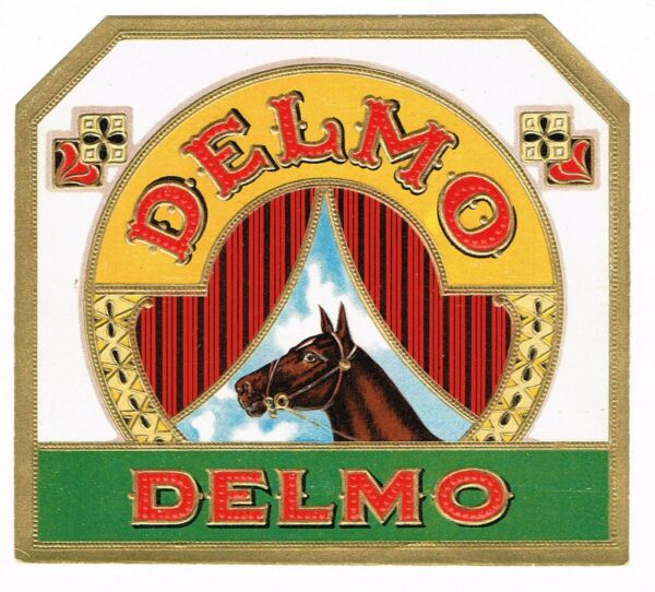 CIGAR BOX LABEL VINTAGE C1920 EMBOSSED DELMO HORSE RACING EQUESTRIAN ORNATE