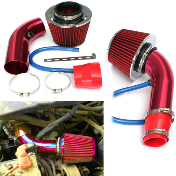 Universal Car 2.5''-3.0'' Universal Cold Air Intake Hose Pipe kit System Red US
