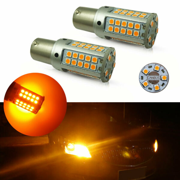 2pcs Error Free 25W Amber 1156 CANbus LED Bulbs For Front Rear Turn Signal Light