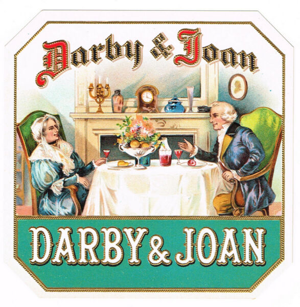 CIGAR BOX LABEL VINTAGE OUTER CHROMOLITHOGRAPHY C1910 DARBY & JOAN DINING COUPLE