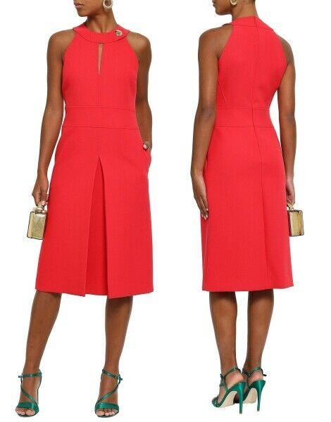 EMILIO PUCCI cutout pleated woven wool blend red dress sz US 2-4 IT 38  $1725