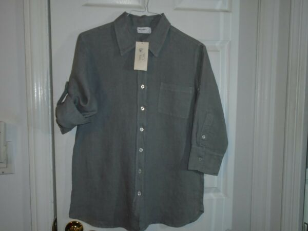 Allen Allen Roll Tab Sleeve Linen Top Size Large New With Tags $9.99