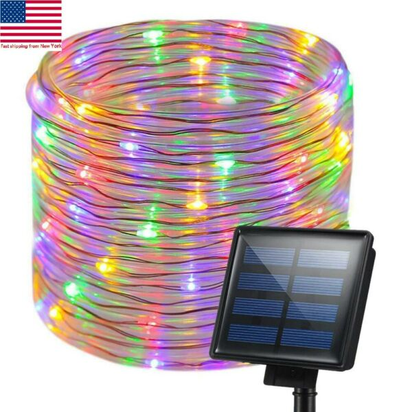 Solar Rope Night Fairy String Twinkle LED Lights Waterproof Outdoor Garden Decor