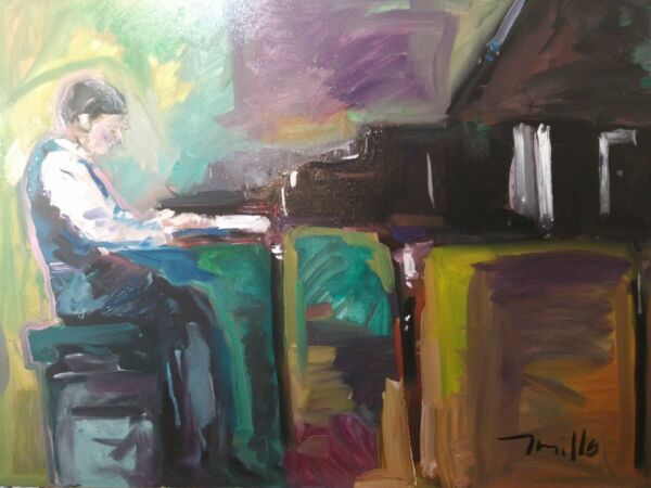 JOSE TRUJILLO - OIL PAINTING MODERN EXPRESSIONIST PIANIST PIANO MUSICIAN 36X48
