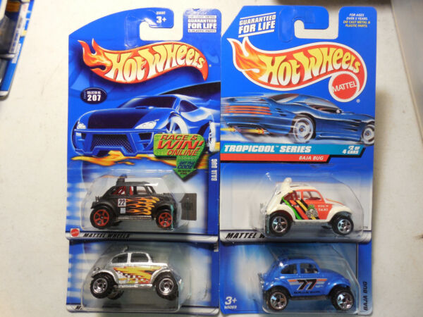hot wheels baja bug lot 4 tropicool VOLKSWAGEN BEETLE BLUE SILVER BLACK FLAMES