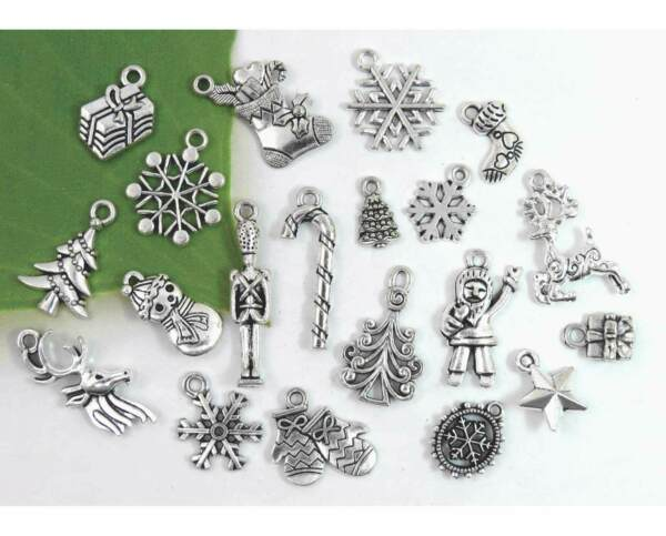 20 Different CHRISTMAS Charms Antique Silver Mixed Holiday Collection Set Lot