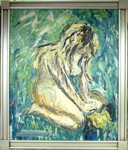 BENTE LARSEN! A GIRL ON HER KNEES AT A FIREPLACE. NO RESERVE