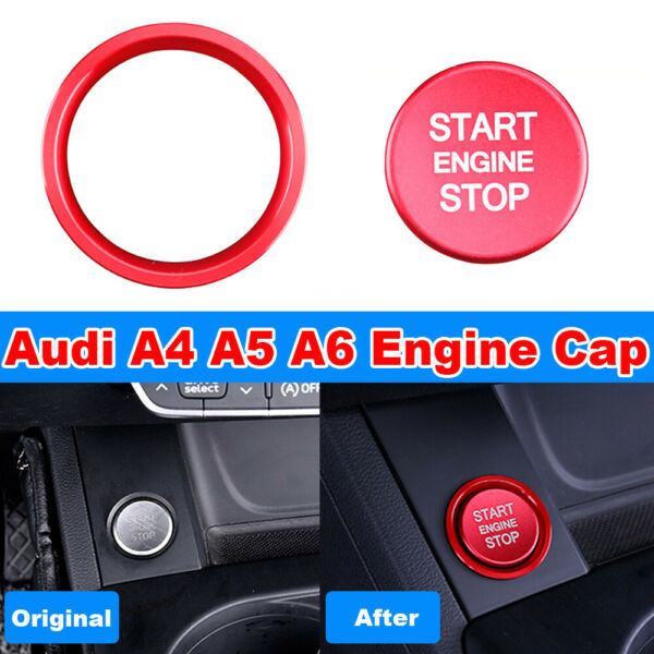 Matte Sport Red Start Engine Stop Button Cap Puss Switch Cover Trim For Audi