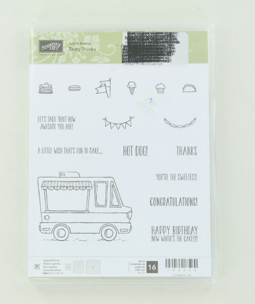 Retired Stampin Up Clear Mount Stamps Tasty Trucks Ice Cream Hot Dog Taco $8.00