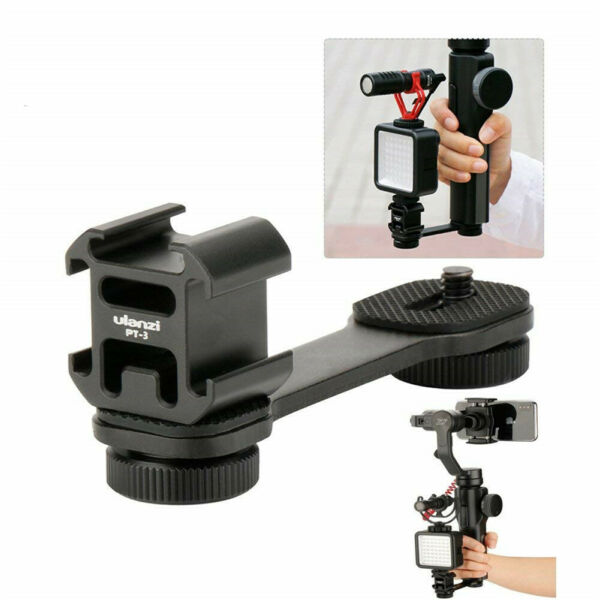 US Stock Ulanzi PT-3 Triple Cold Shoe Mount Plate Compatible For Zhiyun Smooth 4