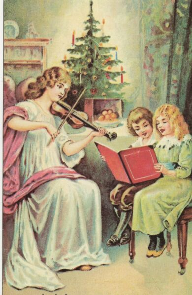 A Merry Christmas - Woman playing violin while children sing Victorian Postcard