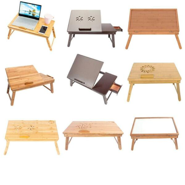 New Adjustable Wood Bed Tray Lap Desk Serving Table Folding Legs Bamboo 10 Types