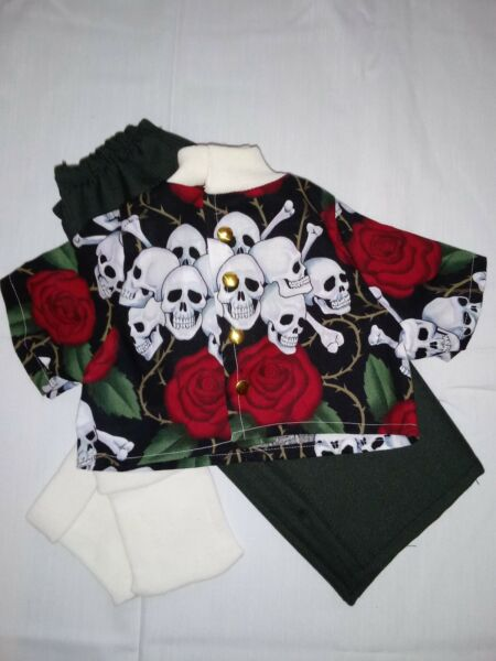 Handmade Red Roses Skulls shirt pants & socks for 15-16