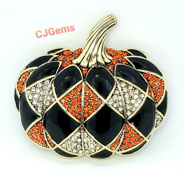 Harlequin Pumpkin Pin Brooch Rhinestone Enamel Halloween in Gift Box Unsigned
