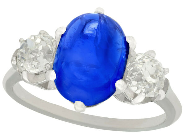 Antique French 4.90Ct Burmese Sapphire 1.39Ct Diamond Platinum Three-Stone Ring